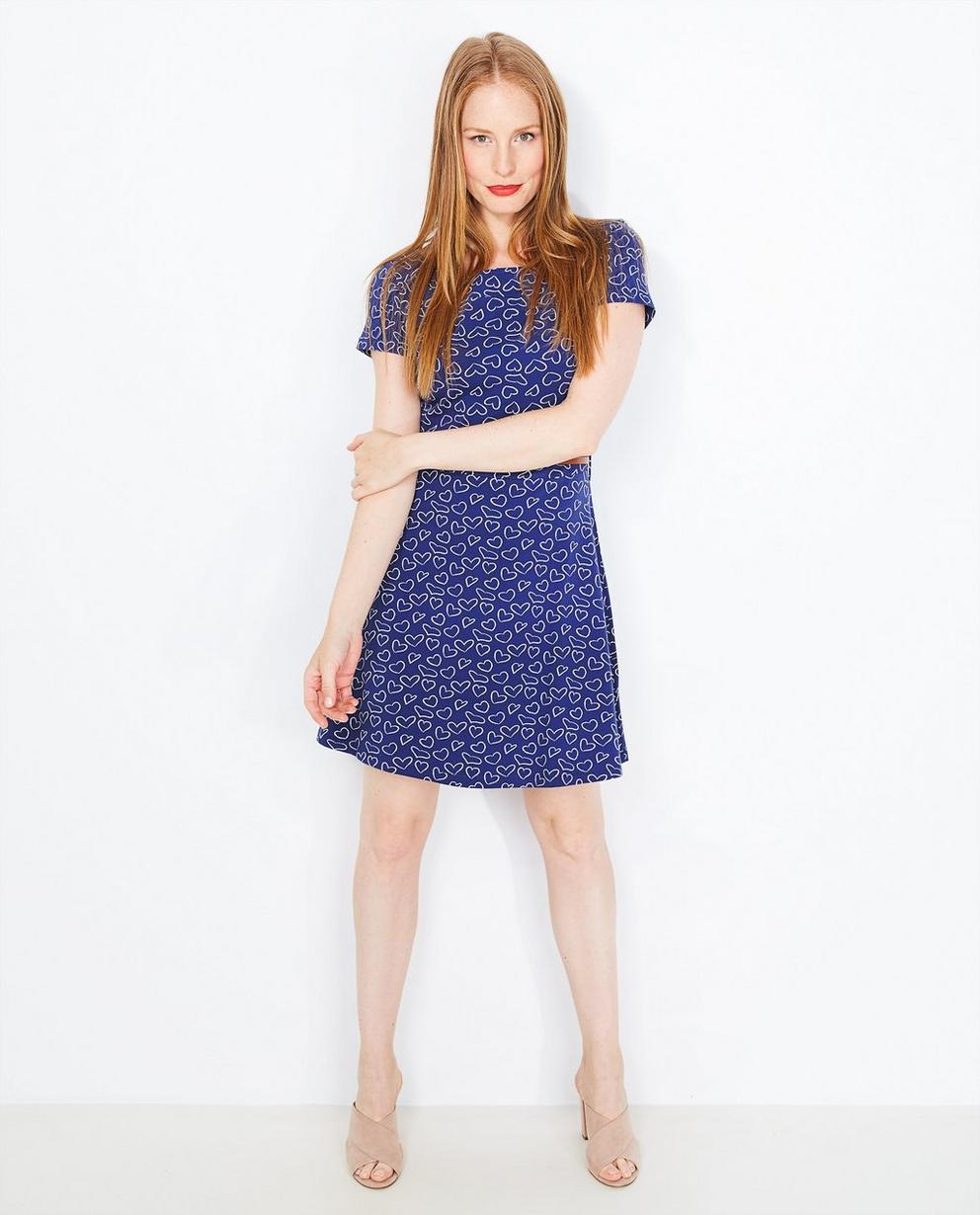Blauwe jurk met riempje - en hartjesprint - JBC